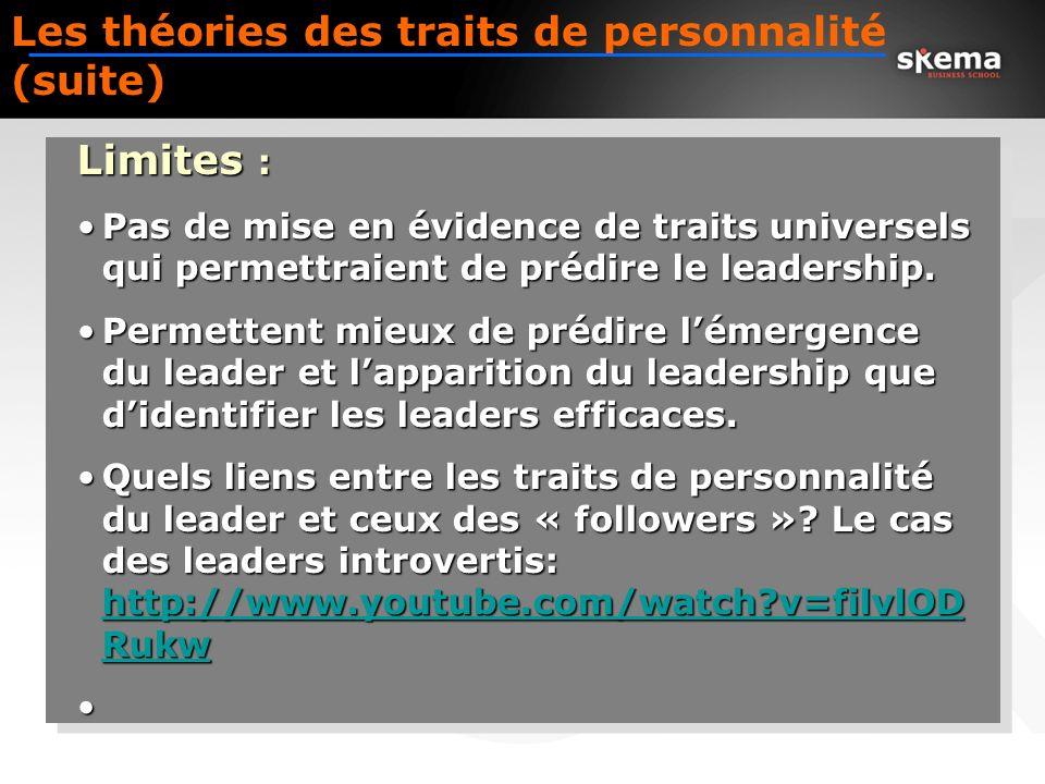 Les théories des traits de personnalité (suite)