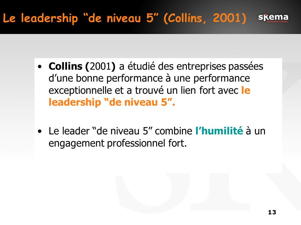 Le leadership de niveau 5 (Collins, 2001)