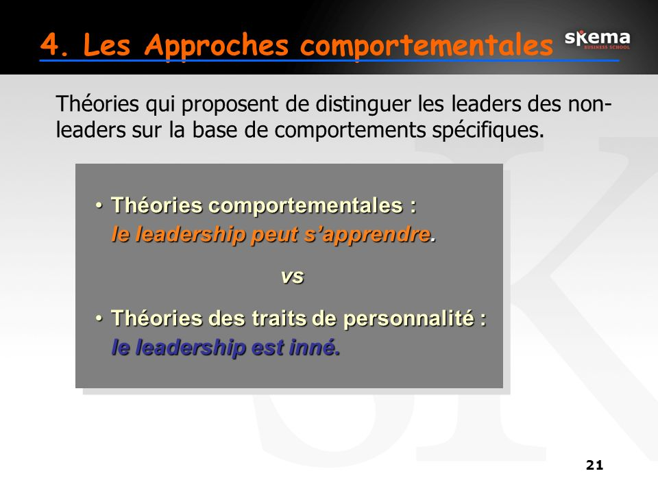 4. Les Approches comportementales