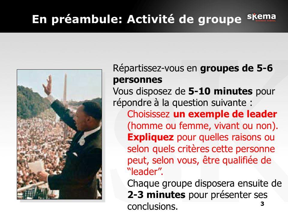 En préambule: Activité de groupe