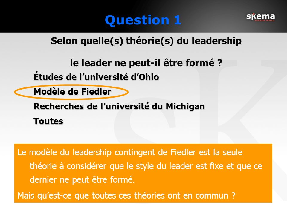Question 1 Études de l'université d'Ohio Modèle de Fiedler