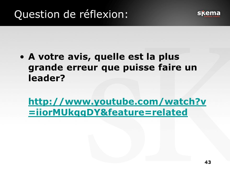 Question de réflexion: