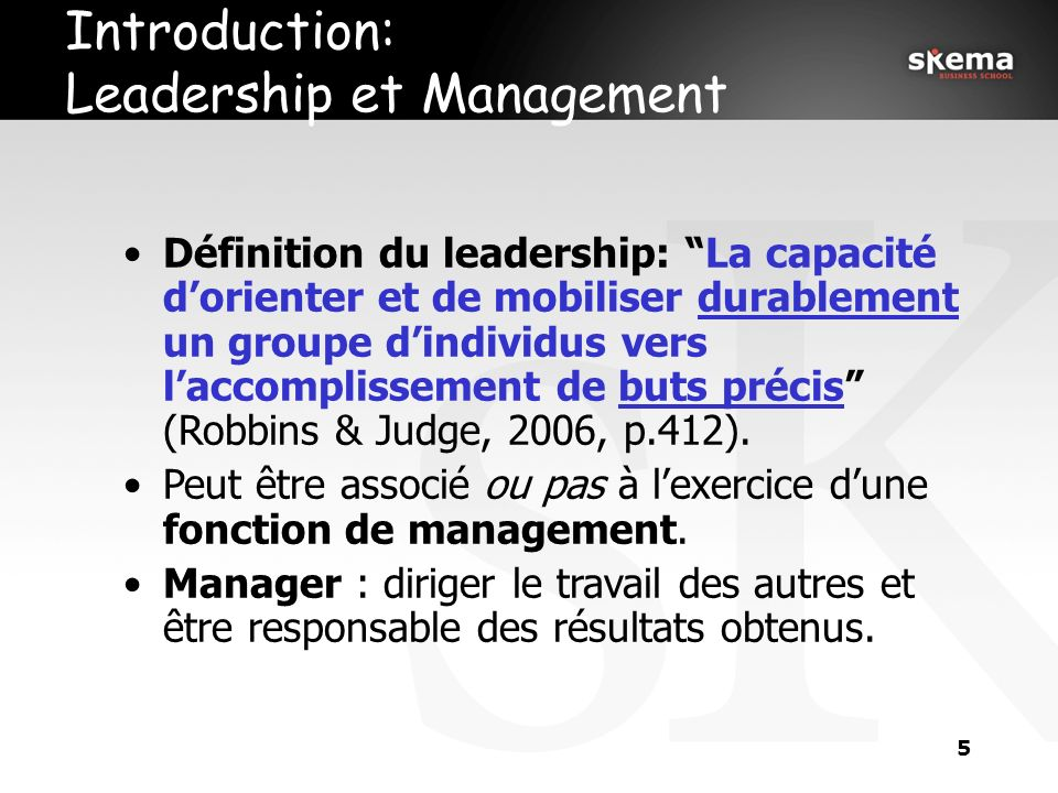 Introduction: Leadership et Management