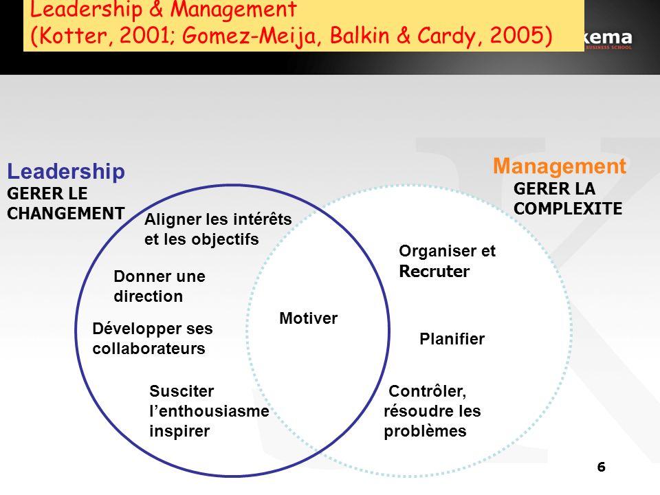 Leadership & Management (Kotter, 2001; Gomez-Meija, Balkin & Cardy, 2005)