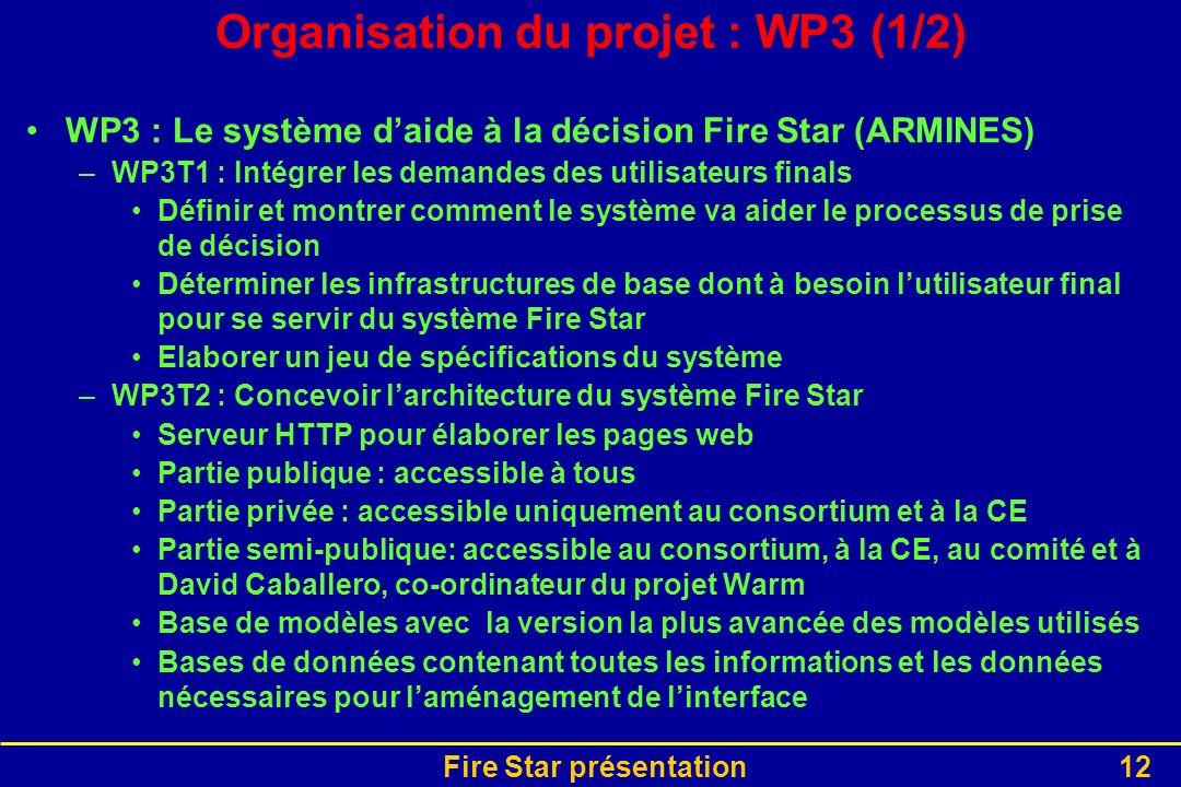 Organisation du projet : WP3 (1/2)