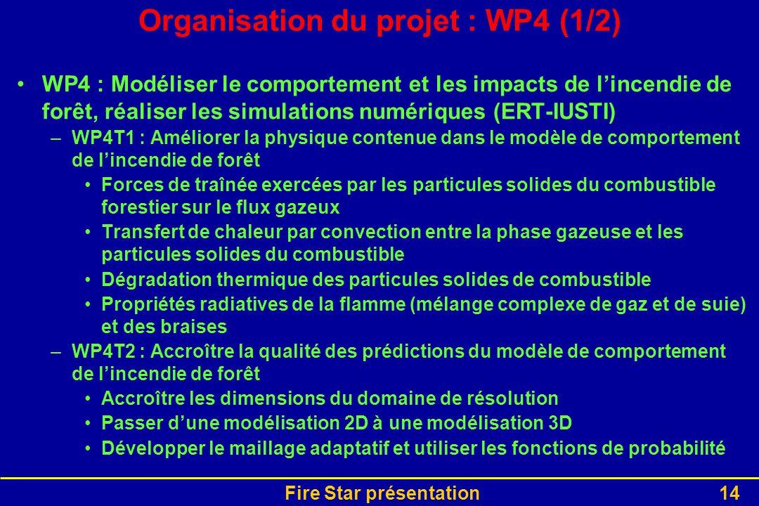 Organisation du projet : WP4 (1/2)
