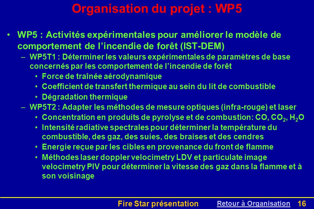 Organisation du projet : WP5