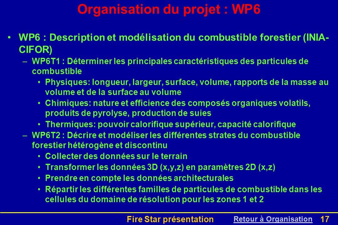 Organisation du projet : WP6
