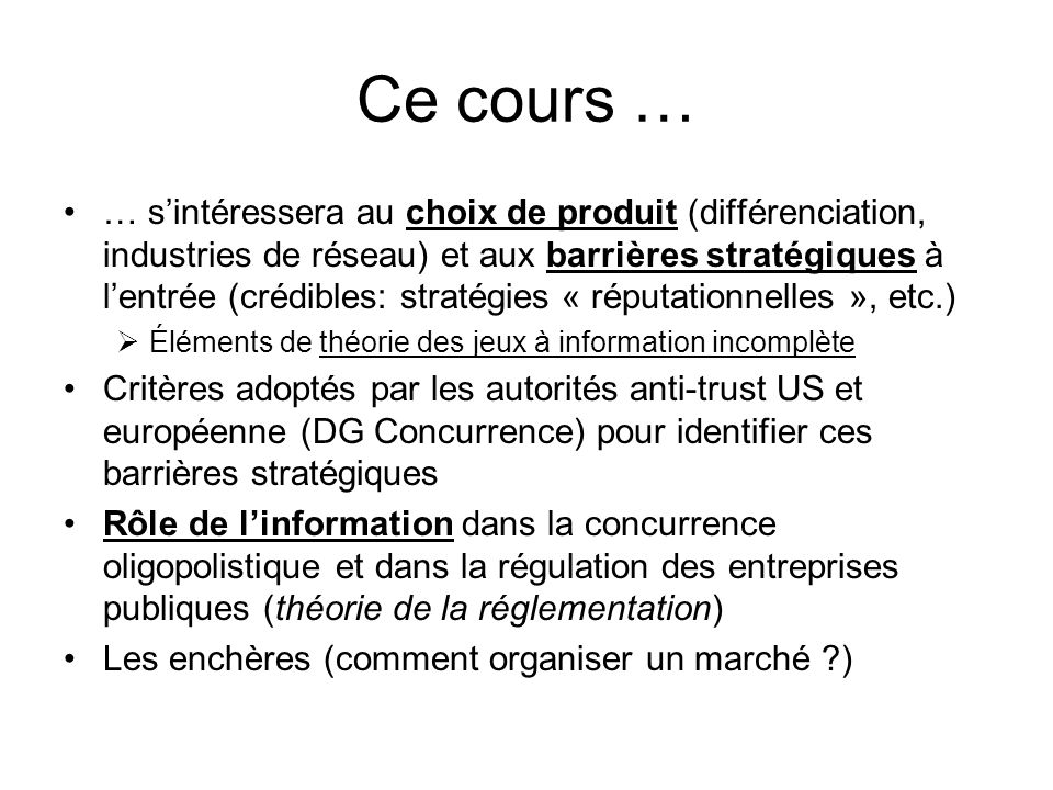 Ce cours …