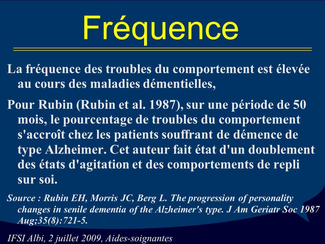 Fréquence La fréquence des troubles du comportement est élevée au cours des maladies démentielles,