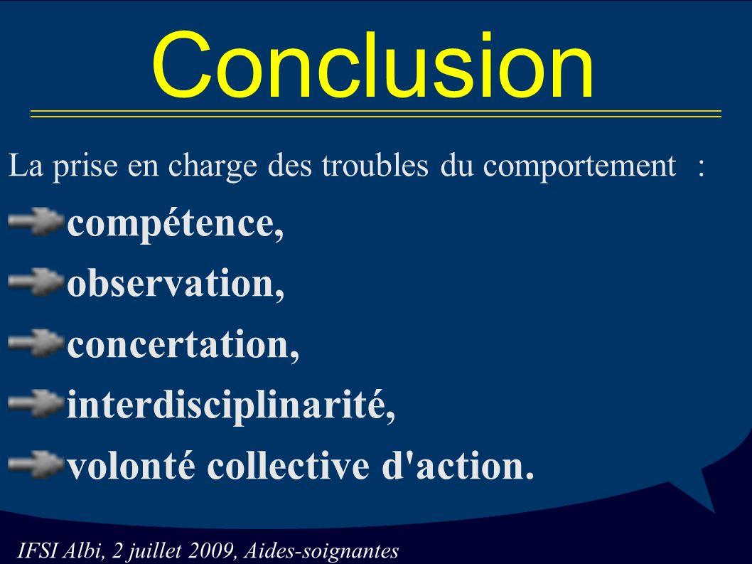 Conclusion compétence, observation, concertation, interdisciplinarité,