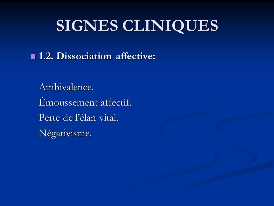SIGNES CLINIQUES 1.2. Dissociation affective: Ambivalence.