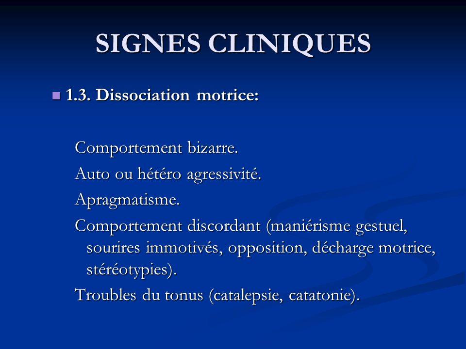 SIGNES CLINIQUES 1.3. Dissociation motrice: Comportement bizarre.