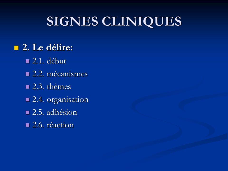 SIGNES CLINIQUES 2. Le délire: 2.1. début 2.2. mécanismes 2.3. thèmes