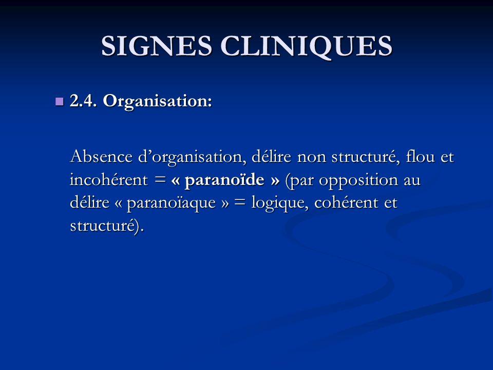 SIGNES CLINIQUES 2.4. Organisation: