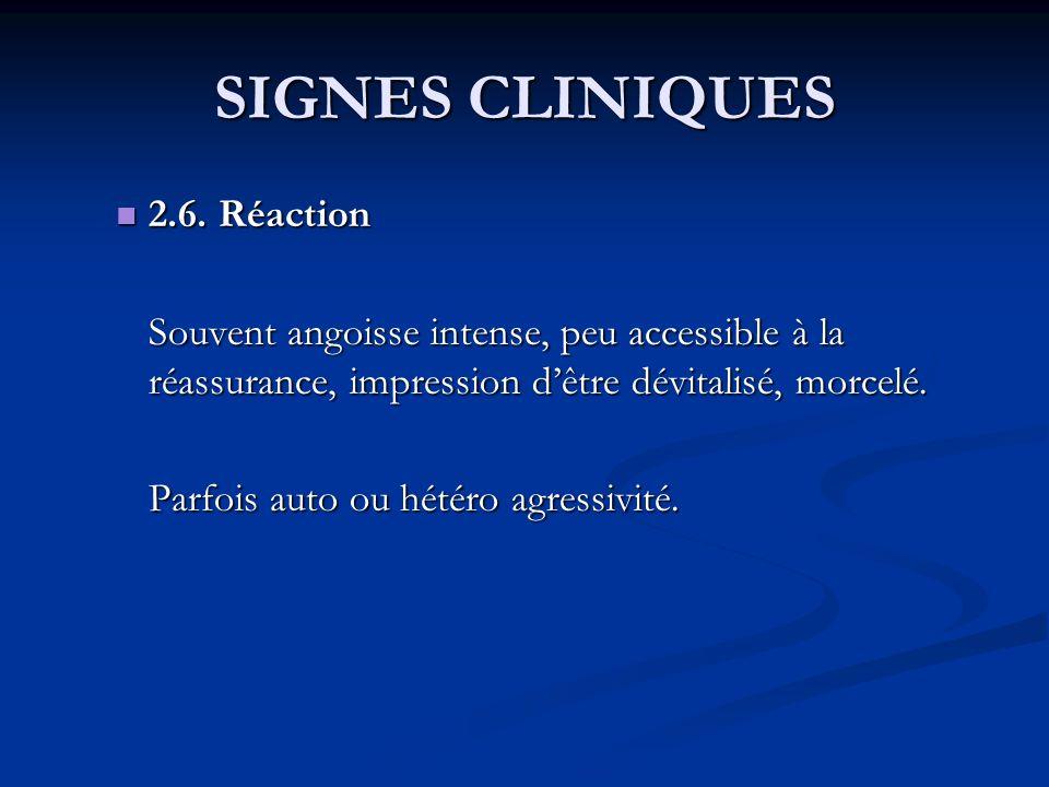 SIGNES CLINIQUES 2.6. Réaction