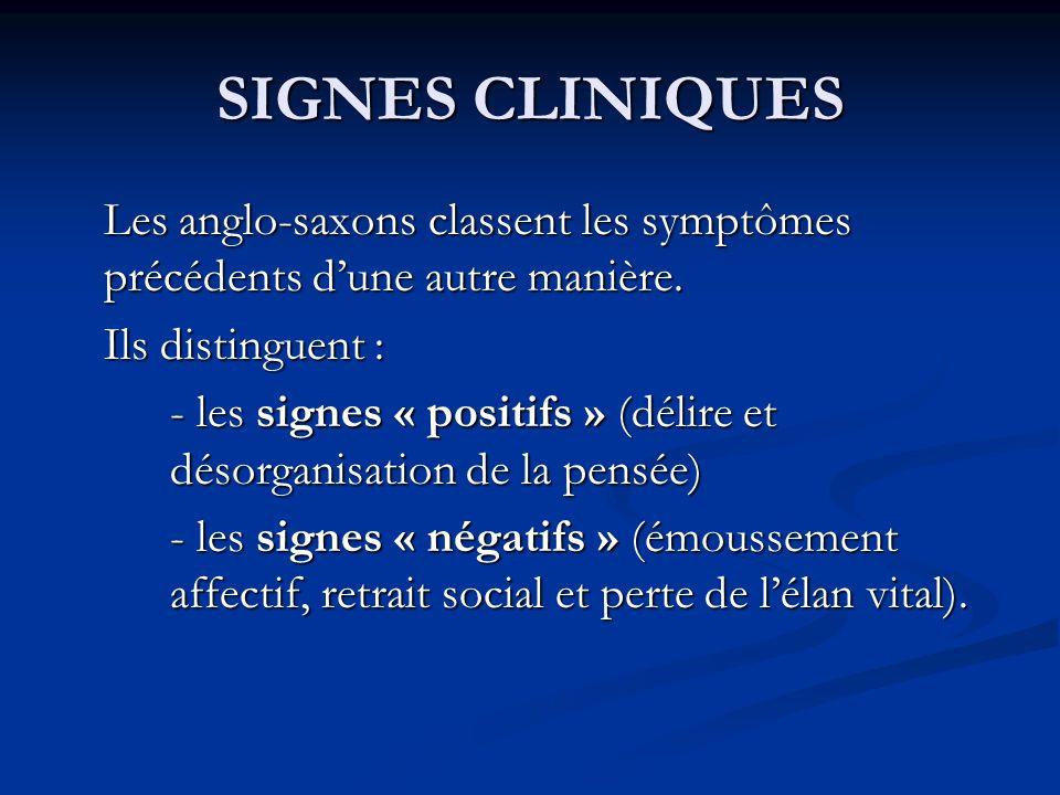 SIGNES CLINIQUES Les anglo-saxons classent les symptômes précédents d'une autre manière. Ils distinguent :