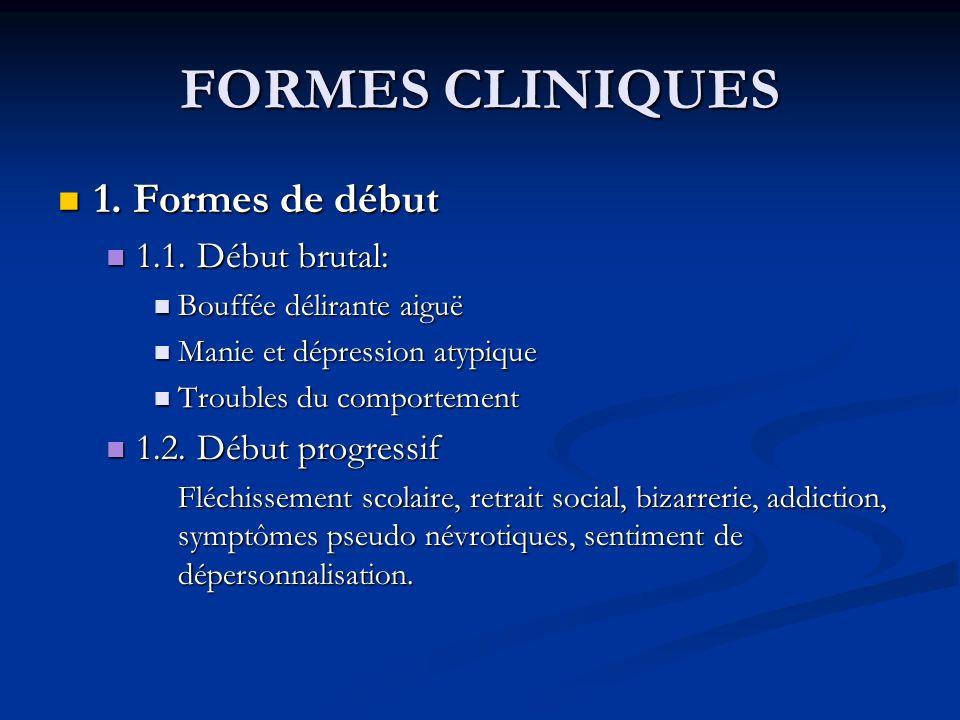 FORMES CLINIQUES 1. Formes de début 1.1. Début brutal:
