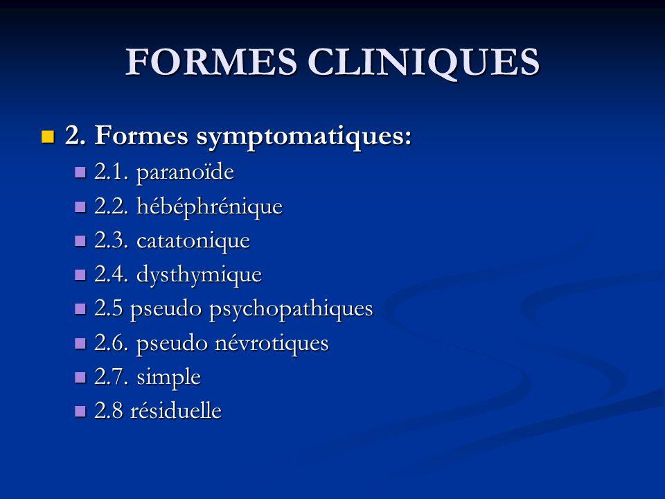FORMES CLINIQUES 2. Formes symptomatiques: 2.1. paranoïde