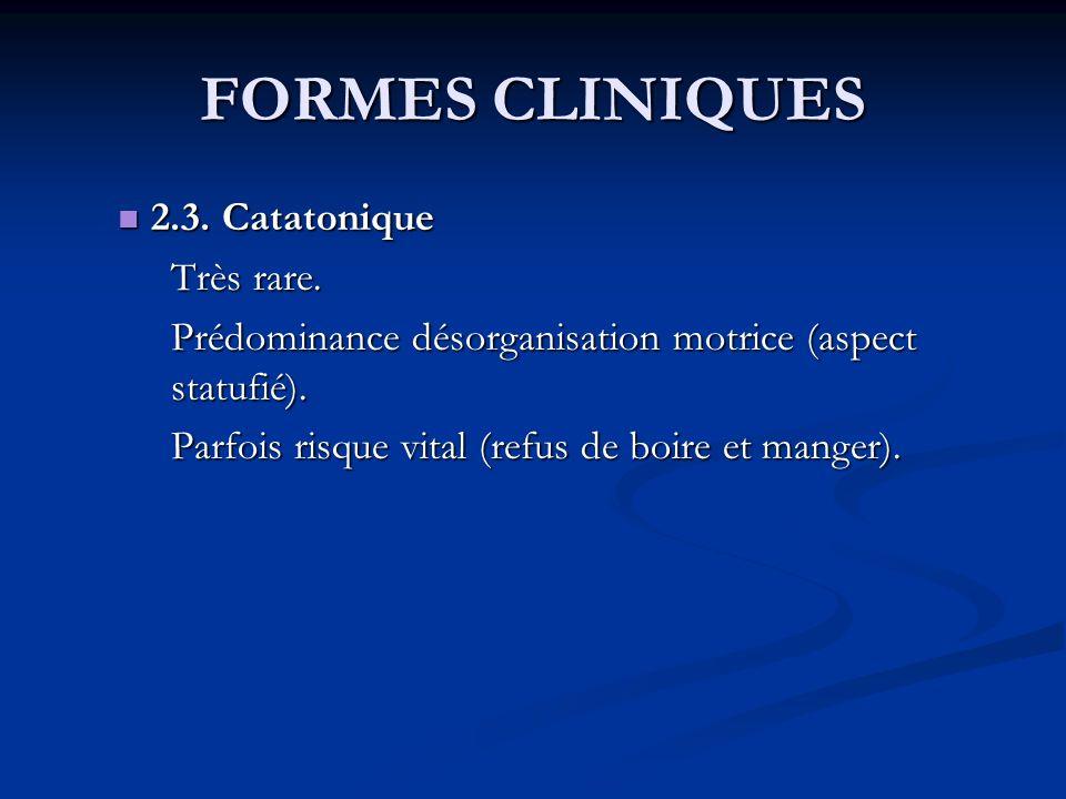 FORMES CLINIQUES 2.3. Catatonique Très rare.