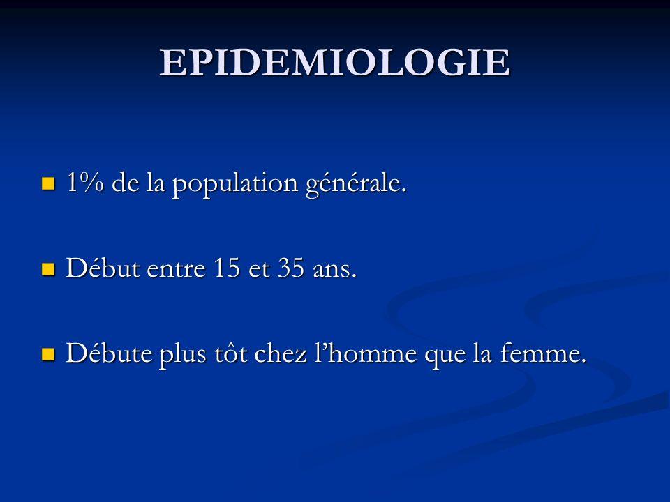 EPIDEMIOLOGIE 1% de la population générale. Début entre 15 et 35 ans.