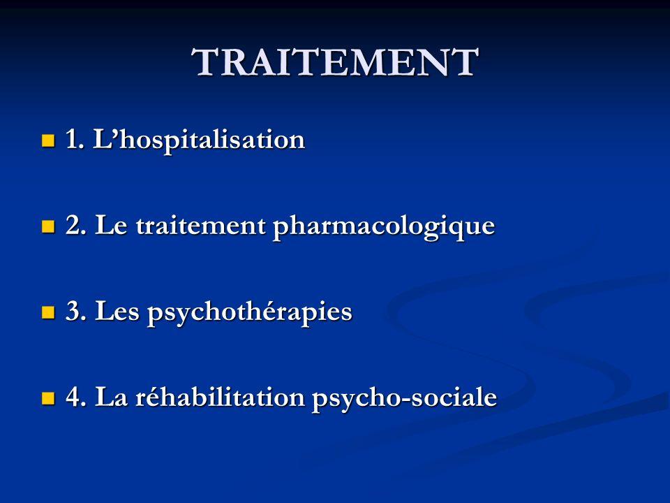 TRAITEMENT 1. L'hospitalisation 2. Le traitement pharmacologique