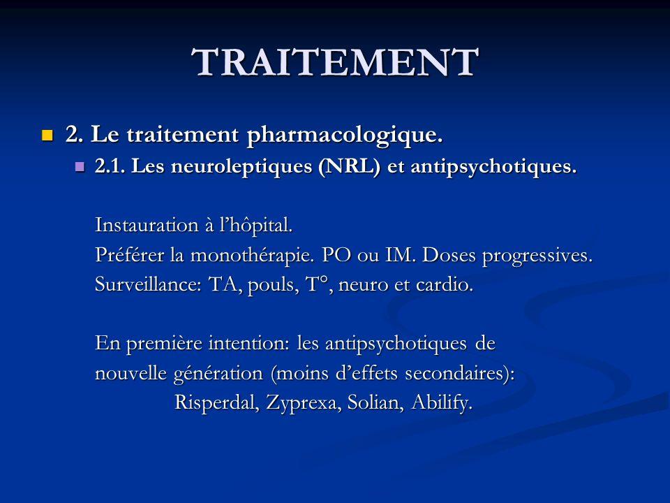 TRAITEMENT 2. Le traitement pharmacologique.