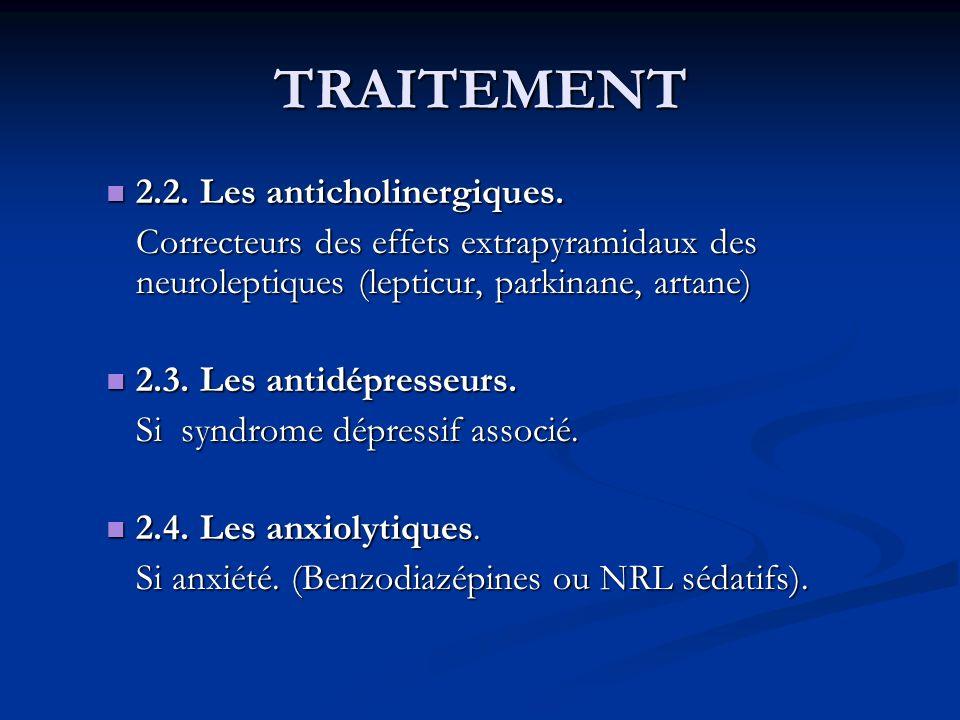 TRAITEMENT 2.2. Les anticholinergiques.