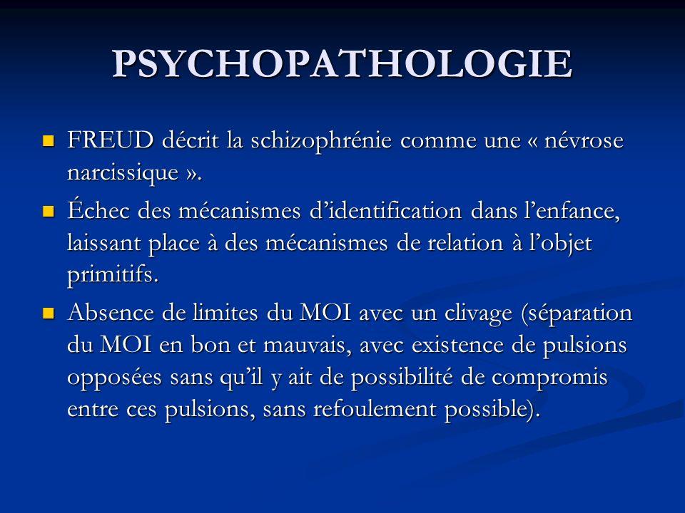PSYCHOPATHOLOGIE FREUD décrit la schizophrénie comme une « névrose narcissique ».