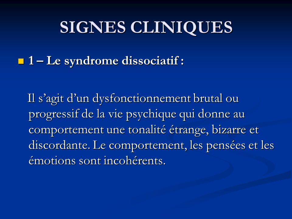 SIGNES CLINIQUES 1 – Le syndrome dissociatif :