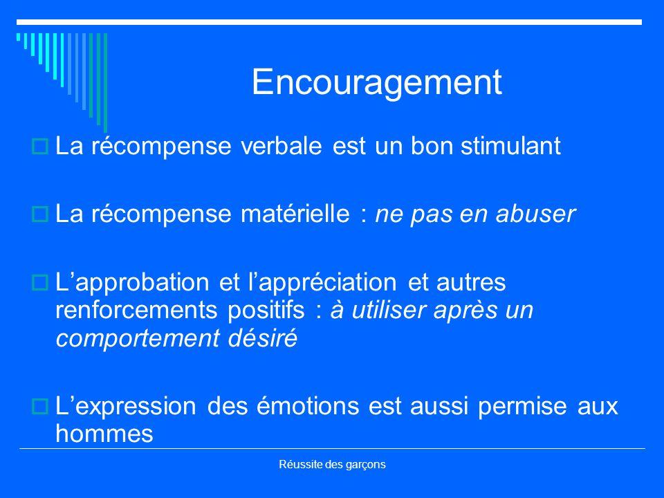 Encouragement La récompense verbale est un bon stimulant