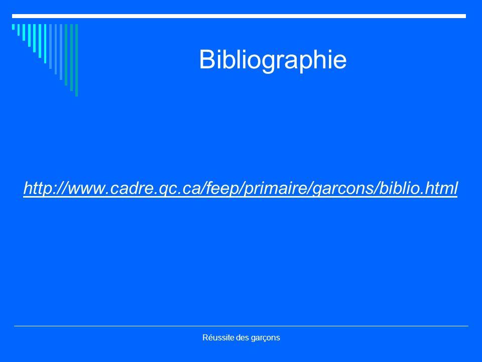 Bibliographie http://www.cadre.qc.ca/feep/primaire/garcons/biblio.html