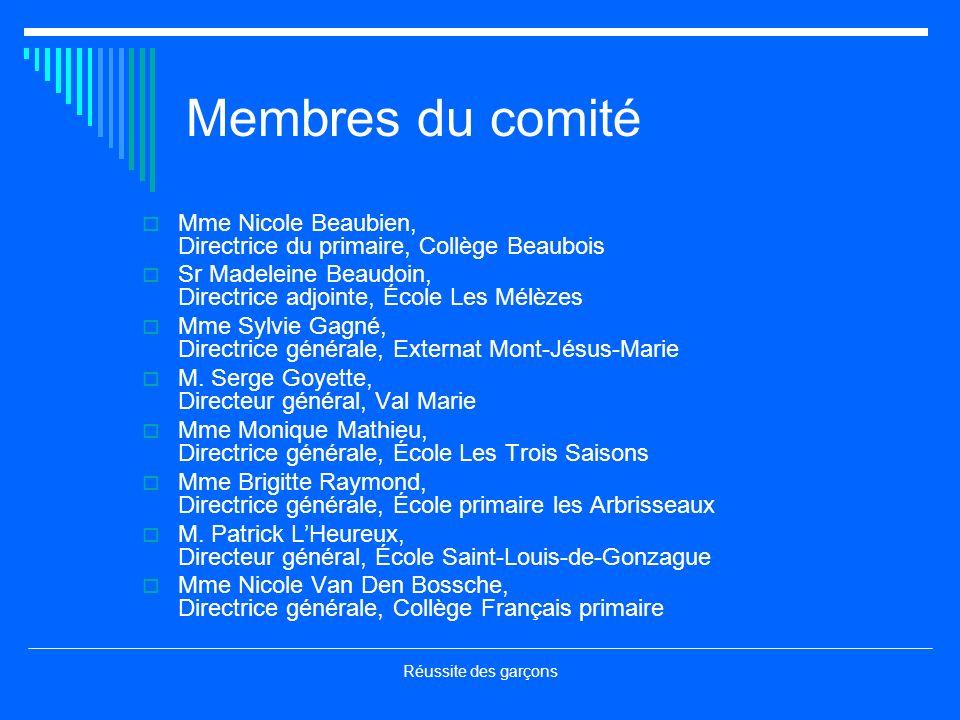 Membres du comité Mme Nicole Beaubien, Directrice du primaire, Collège Beaubois. Sr Madeleine Beaudoin, Directrice adjointe, École Les Mélèzes.