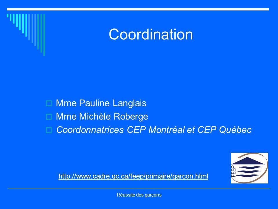 Coordination Mme Pauline Langlais Mme Michèle Roberge