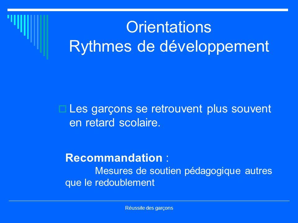 Orientations Rythmes de développement