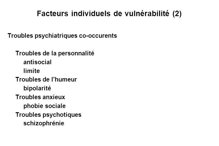 Facteurs individuels de vulnérabilité (2)