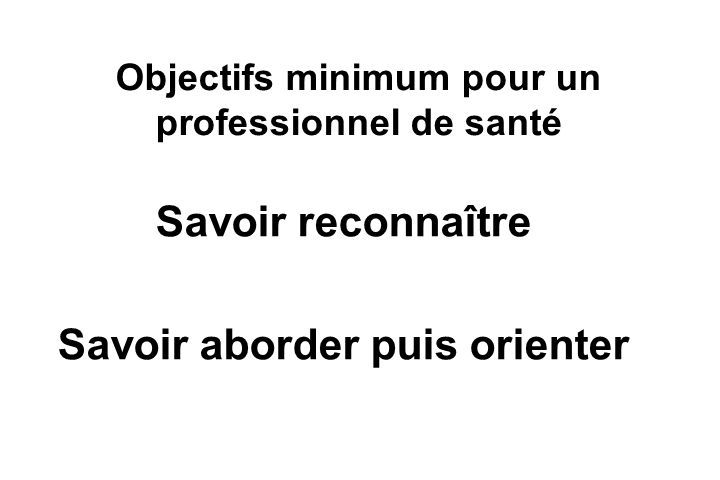 Objectifs minimum pour un professionnel de santé