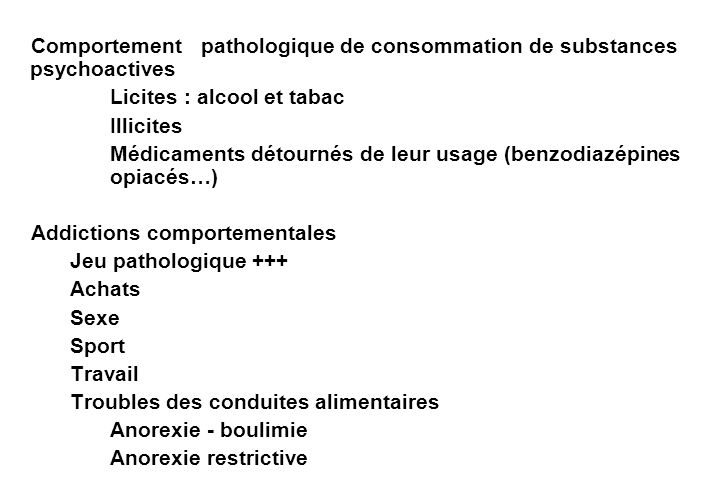 Comportement pathologique de consommation de substances psychoactives