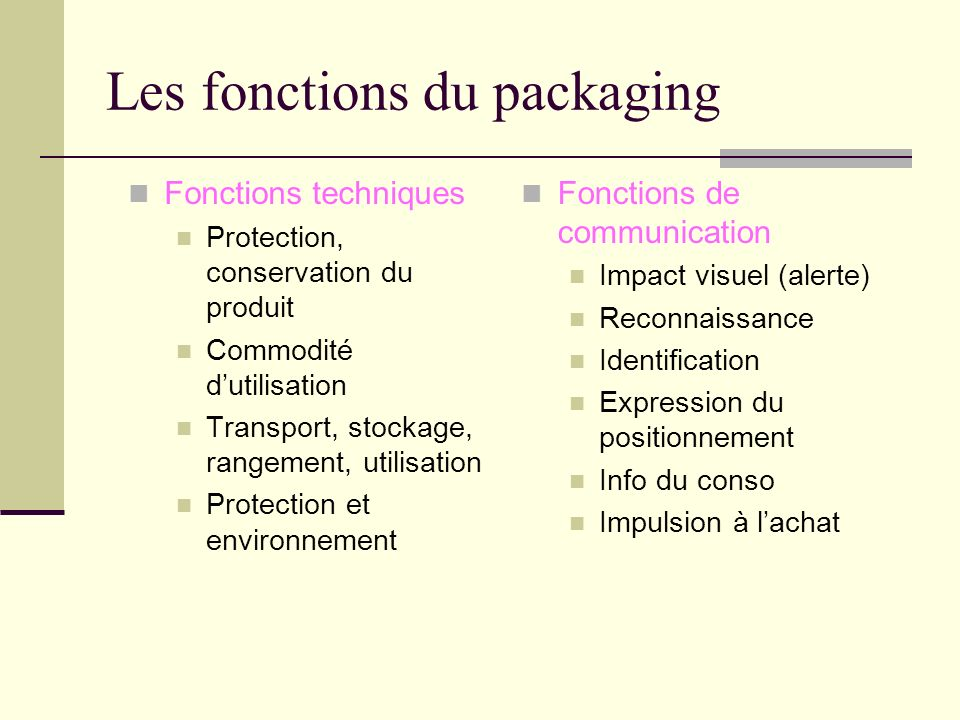 Les fonctions du packaging
