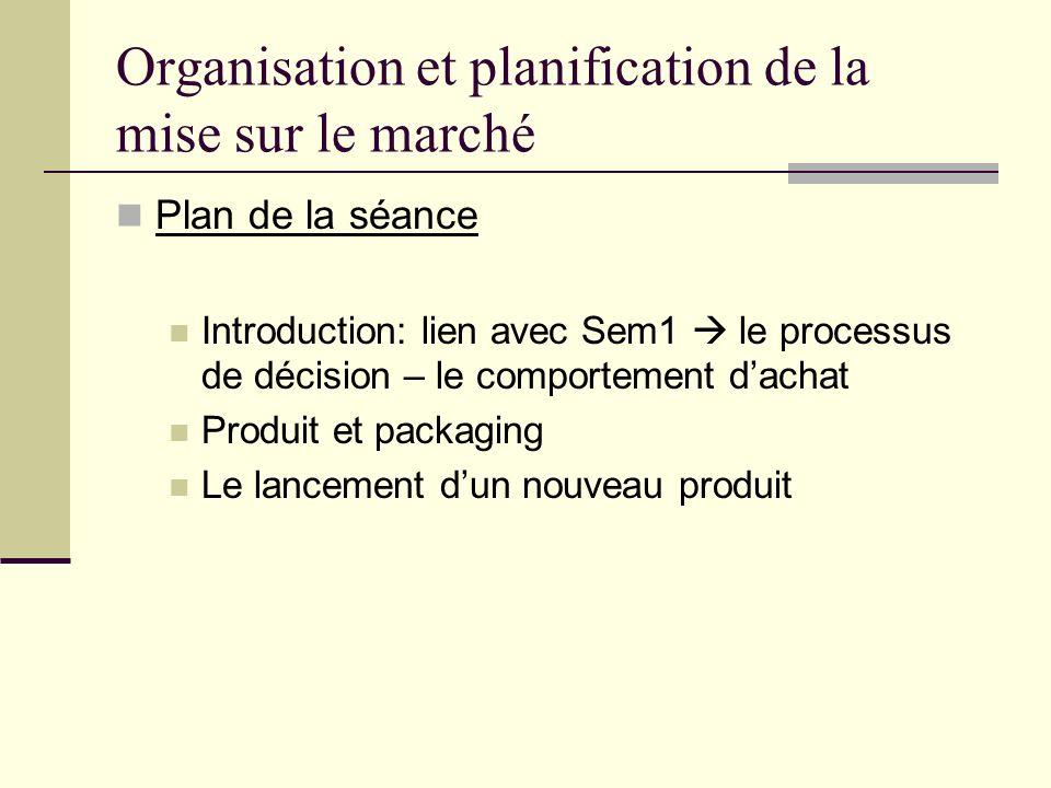 Organisation et planification de la mise sur le marché