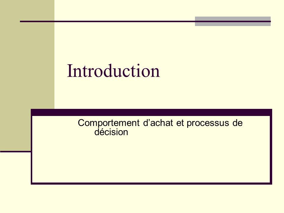 Introduction Comportement d'achat et processus de décision