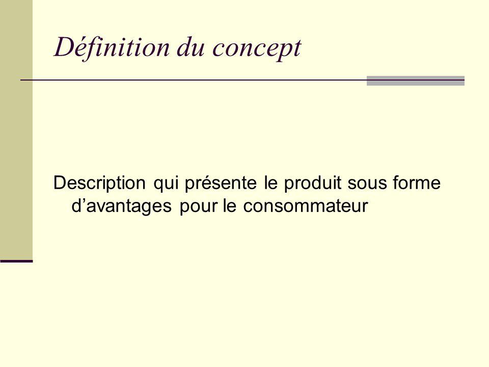 Définition du concept Description qui présente le produit sous forme d'avantages pour le consommateur.
