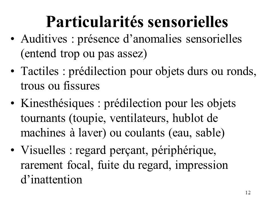 Particularités sensorielles