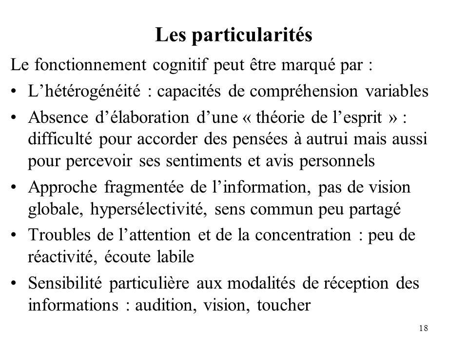Les particularités Le fonctionnement cognitif peut être marqué par :