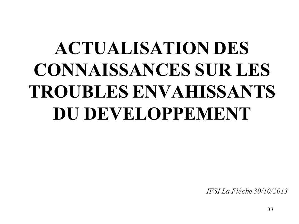 ACTUALISATION DES CONNAISSANCES SUR LES TROUBLES ENVAHISSANTS DU DEVELOPPEMENT