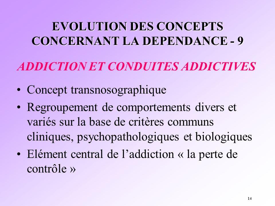 EVOLUTION DES CONCEPTS CONCERNANT LA DEPENDANCE - 9