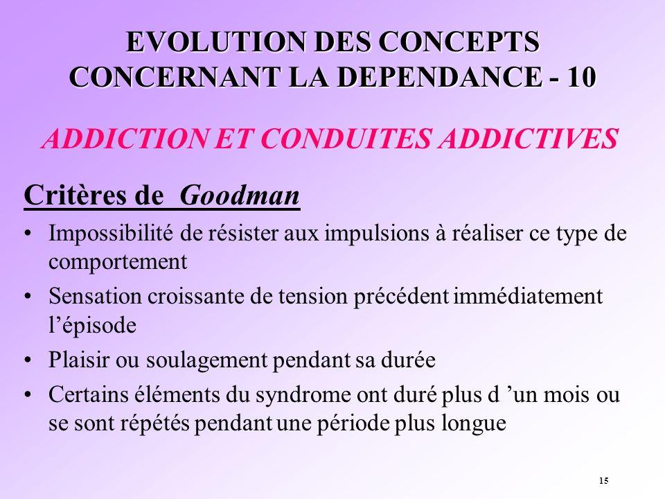 EVOLUTION DES CONCEPTS CONCERNANT LA DEPENDANCE - 10