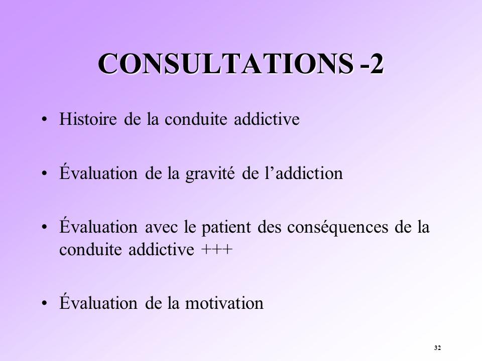 CONSULTATIONS -2 Histoire de la conduite addictive