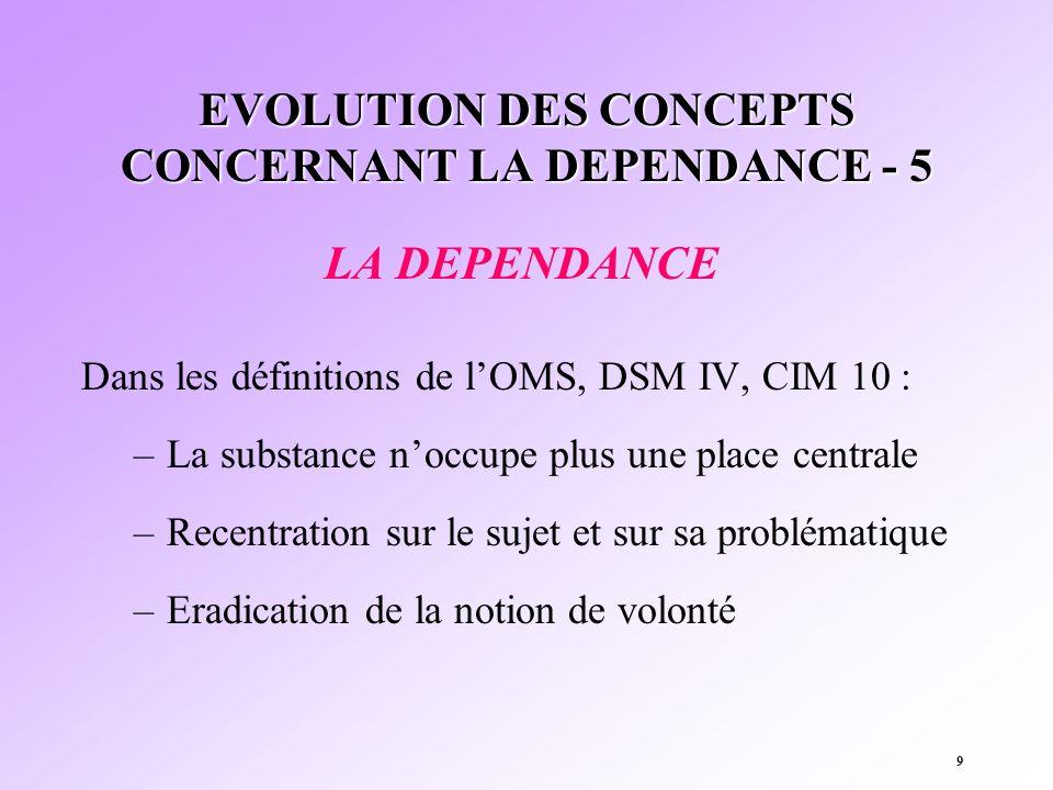 EVOLUTION DES CONCEPTS CONCERNANT LA DEPENDANCE - 5