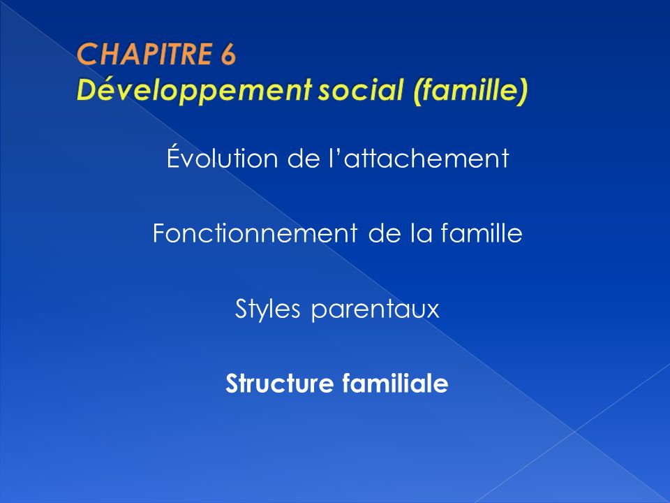 CHAPITRE 6 Développement social (famille)